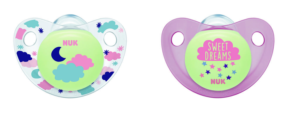 Cute-as-a-Button Glow-in-the-Dark Orthodontic Pacifiers, 0-6 Months, 2-Pack Product Image 5 of 6