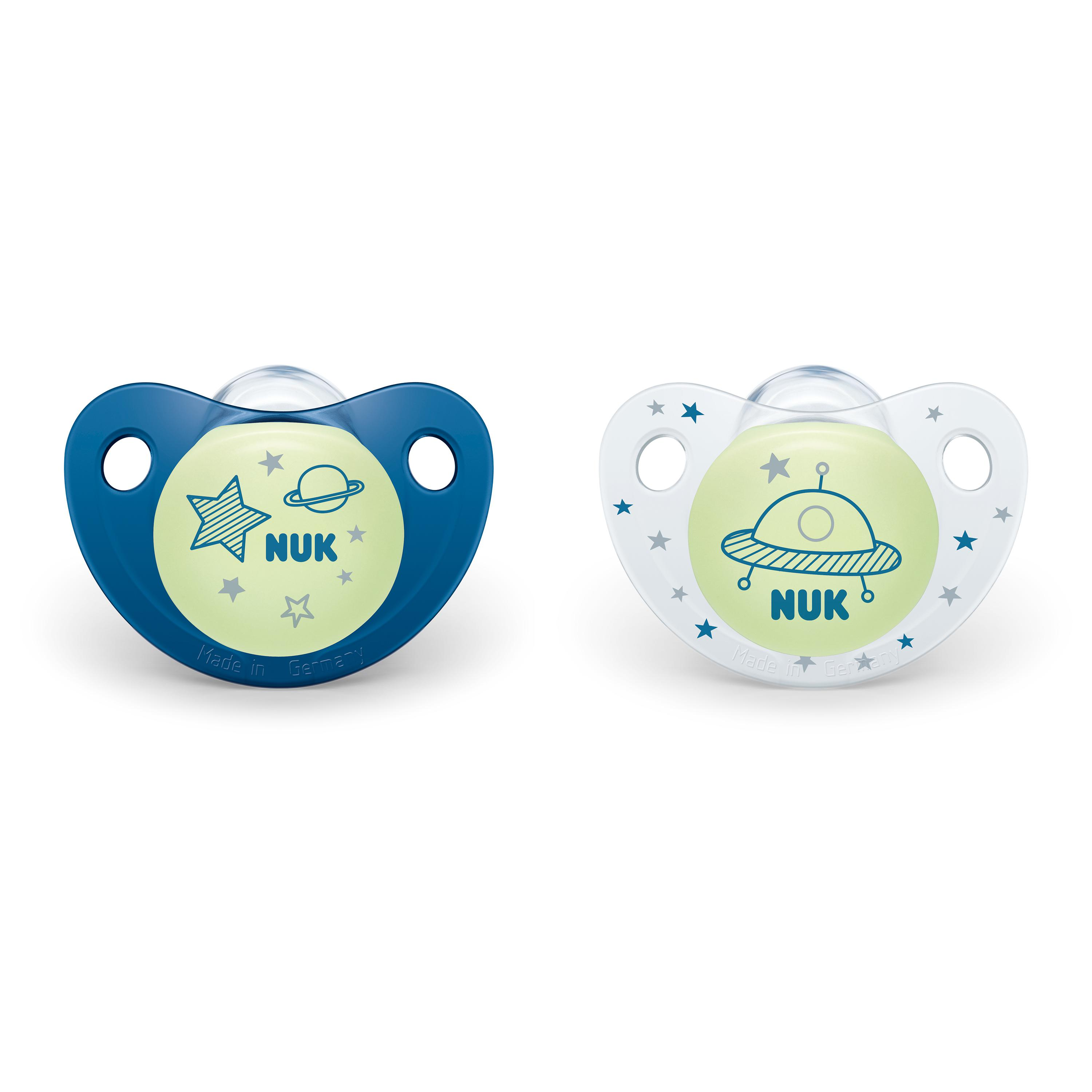Cute-as-a-Button Glow-in-the-Dark Orthodontic Pacifiers, 6-18 Months, 2-Pack Product Image 1 of 2